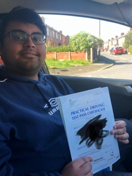 Well done to Wahid for passing his practical test first time at Sale on the 25th March 2019.